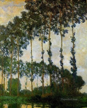 Poplars near Giverny Overcast Weather Claude Monet Oil Paintings