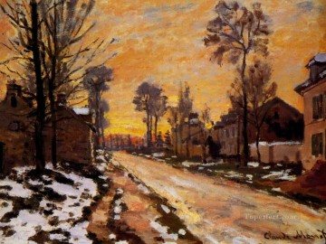 Monet Oil Painting - Road at Louveciennes Melting Snow Sunset Claude Monet