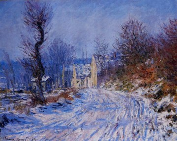 Road Oil Painting - Road to Giverny in Winter Claude Monet