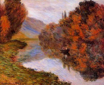 Row Painting - Rowboat on the Seine at Jeufosse Claude Monet