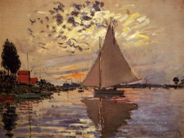 boat art painting - Sailboat at Le Petit Gennevilliers Claude Monet