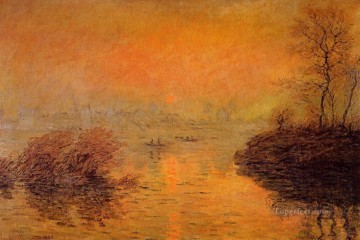 Sunset Art - Sunset on the Seine at Lavacourt Winter Effect Claude Monet