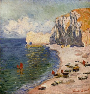 beach Art - The Beach and the Falaise d Amont Claude Monet