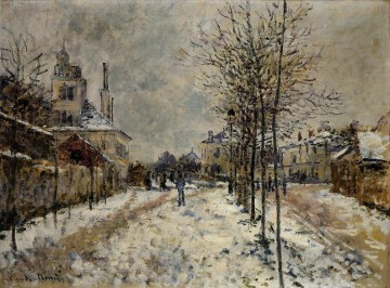 Argenteuil Canvas - The Boulevard de Pontoise at Argenteuil Snow Effect Claude Monet
