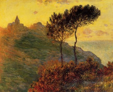 Sunset Art - The Church at Varengeville against the Sunset Claude Monet