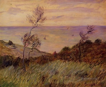Cliffs Art - The Cliffs of Varengeville Gust of Wind Claude Monet
