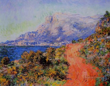 red Oil Painting - The Red Road near Menton Claude Monet