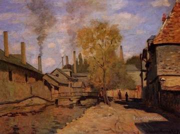 aka works - The Robec Stream Rouen aka Factories at Deville near Rouen Claude Monet