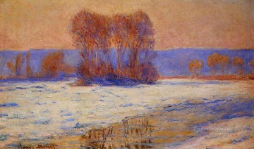 The Seine at Bennecourt in Winter Claude Monet Oil Paintings