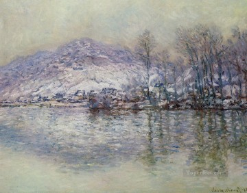 The Seine at Port Villez Snow Effect Claude Monet Oil Paintings