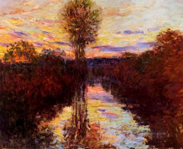 mornings on the seine monet Painting - The Small Arm of the Seine at Mosseaux Evening Claude Monet