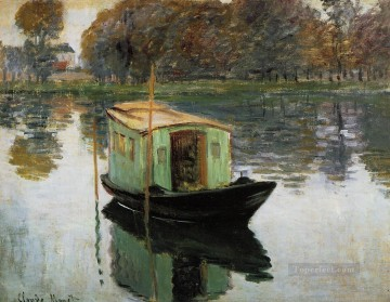 boat art painting - The Studio Boat 1874 Claude Monet