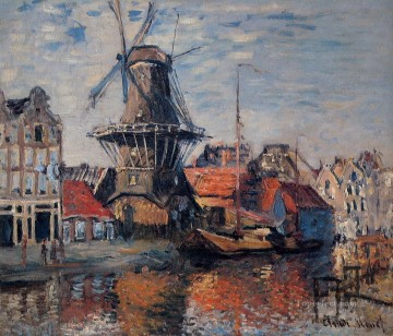 The Windmill on the Onbekende Canal Amsterdam 1874 Claude Monet Oil Paintings