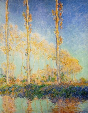 Tree Painting - Three Poplar Trees in the Autumn Claude Monet