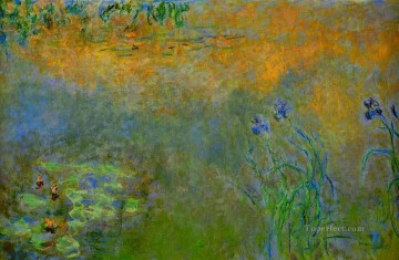 monet water lily lilies waterlily waterlilies Painting - Water Lily Pond with Irises Claude Monet