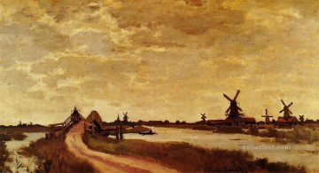 Windmills at Haaldersbroek Zaandam Claude Monet Oil Paintings