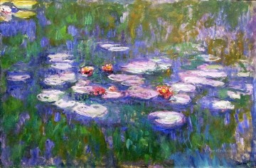 water lilies big flowers Claude Monet Oil Paintings