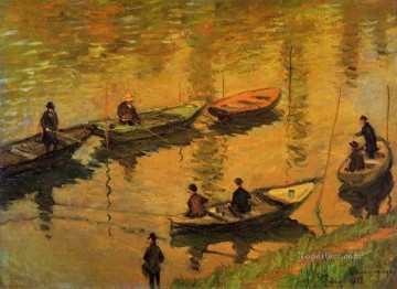 mornings on the seine monet Painting - Anglers on the Seine at Poissy Claude Monet