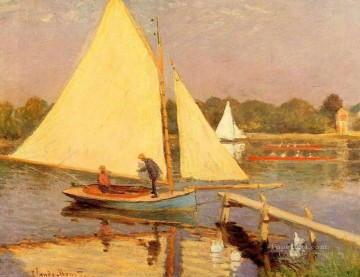 Boat Painting - Boaters at Argenteuil Claude Monet