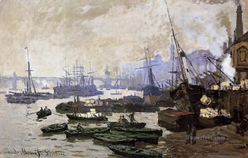 Boat Painting - Boats in the Port of London Claude Monet