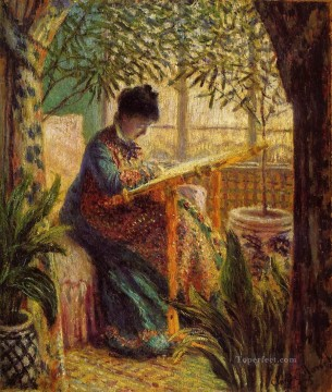 Claude Monet Painting - Camille Embroidering Claude Monet