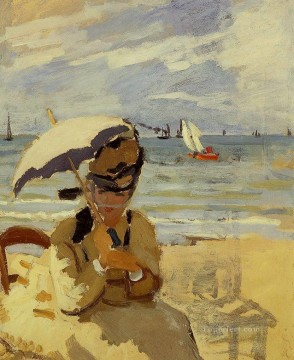 Camille Sitting on the Beach at Trouville Claude Monet Oil Paintings