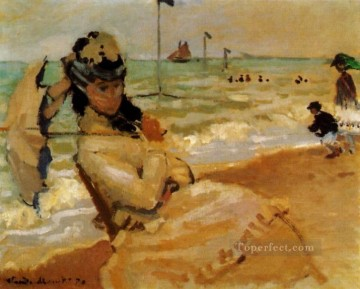 Camille on the Beach at Trouville Claude Monet Oil Paintings