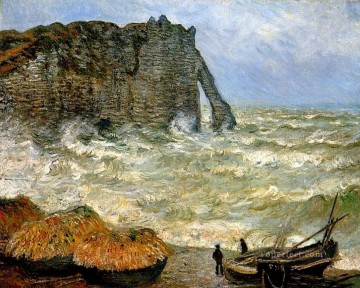 Etretat Art - Etretat Rough Sea Claude Monet