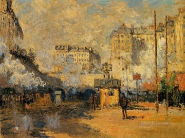 Exterior of Saint Lazare Station Sunlight Effect Claude Monet Oil Paintings