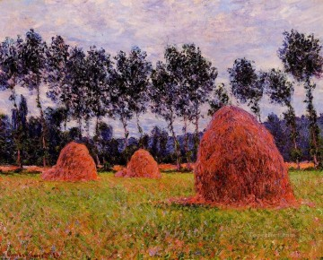 Day Painting - Haystacks Overcast Day Claude Monet