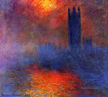 Houses of Parliament Effect of Sunlight in the Fog 莫奈油画、国画