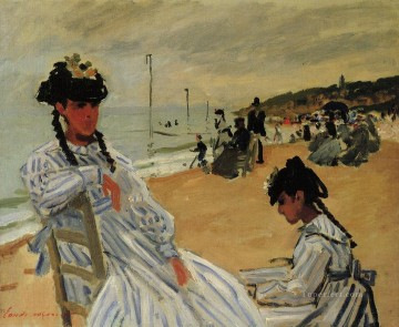 beach Painting - On the Beach at Trouville Claude Monet