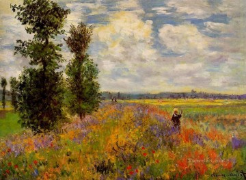 Monet Oil Painting - Poppy Field Argenteuil Claude Monet