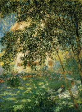 garden Oil Painting - Relaxing in the Garden Argenteuil Claude Monet