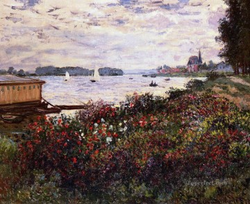 Argenteuil Canvas - Riverbank at Argenteuil Claude Monet