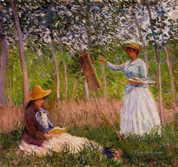 painting Oil Painting - Suzanne Reading and Blanche Painting by the Marsh at Giverny Claude Monet