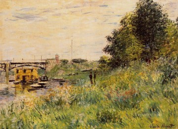 mornings on the seine monet Painting - The Banks of the Seine at the Argenteuil Bridge Claude Monet