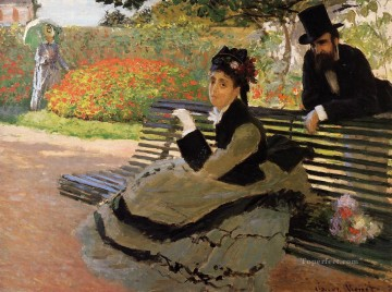 Bench Painting - The Beach aka Camille Monet on a Garden Bench Claude Monet