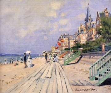 Monet Oil Painting - The Boardwalk at Trouville Claude Monet