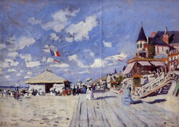 beach Art - The Boardwalk on the Beach at Trouville Claude Monet