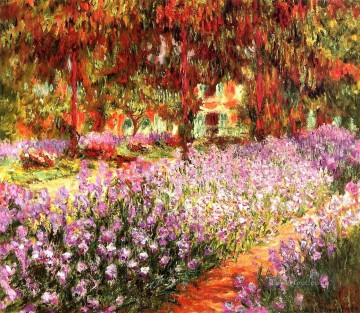 garden Oil Painting - The Garden aka Irises Claude Monet