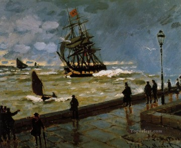 The Jetty of Le Havre in Rough Westher II Claude Monet Oil Paintings