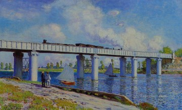 Road Oil Painting - The Railroad Bridge at Argenteuil II Claude Monet