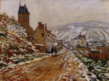 Road Oil Painting - The Road in Vetheuil in Winter Claude Monet