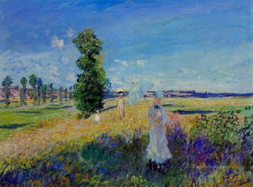 Argenteuil Canvas - The Walk Argenteuil Claude Monet