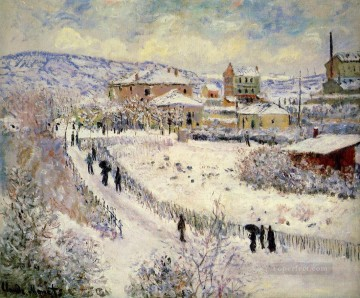 Argenteuil Canvas - View of Argenteuil in the Snow Claude Monet