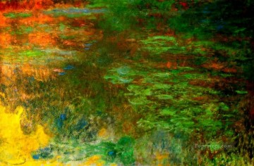 monet water lily lilies waterlily waterlilies Painting - Water Lily Pond Evening right panel Claude Monet