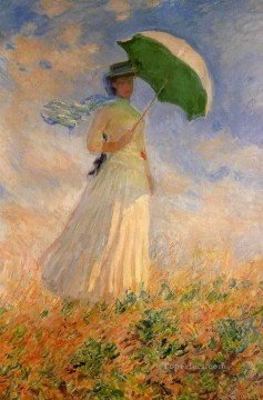 Woman with a Parasol Facing Right 莫奈