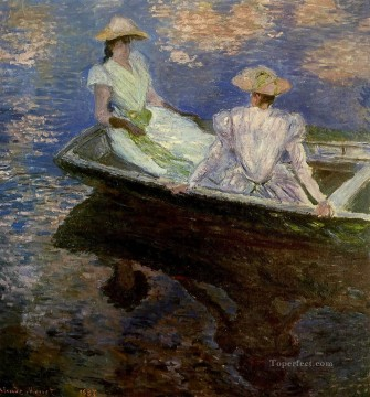 Boat Painting - Young Girls in a Row Boat Claude Monet