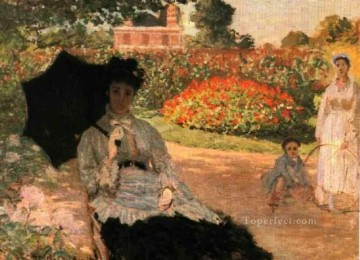 garden Oil Painting - Camille in the Garden with Jean and His Nanny Claude Monet